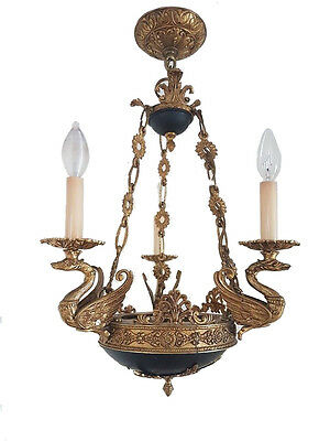 Beautiful Empire style bronze swan chandelier