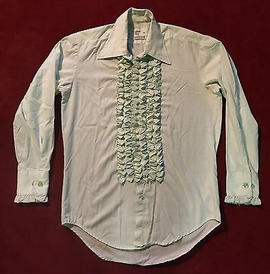 Vintage 70s after six Green Ruffle Tuxedo Shirt Mens M2