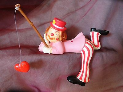 Vintage CLOWN Shelf sitter with heart Fishing Pole unique pink red white