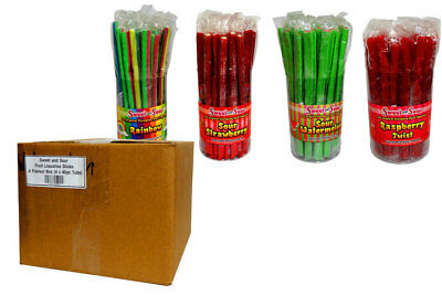 Sweet and Sour Fruit Liquorice Sticks - 4 Flavour Box (4 x 40pc Tubs)