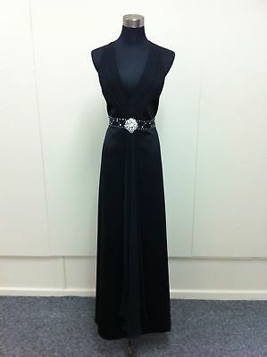 Size 10 Full length satin and chiffon evening or formal gown with brooch Sis 177