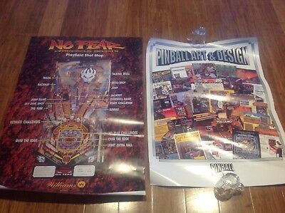 Large Williams No Fear Playfield Shot Map Pinball Poster..with Bonus