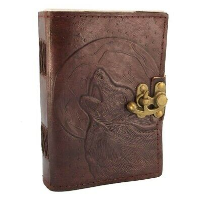Leather Wolf Journal - Personal Leather Writing Diary Notepad  / Sketchpad