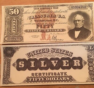 Reproduction  Paper Money 1880 $50 Silver Cert US Currency Copy Note