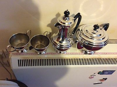 Silver Plate Four Piece Tea Set,large. Pretty And In Very Good Order