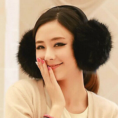 Fashion Women's Faux Fur Winter Ear Warmer Earmuffs Ear Muffs Earlap Black Solid