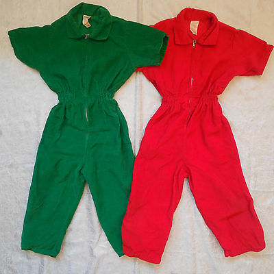 Vintage Tiny World Corduroy Jumpsuits LOT OF 2 Red/Green Overalls Boys Girls 3T