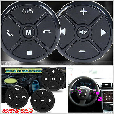 Black Multifunctional Car Wireless Steering Wheel Control Key Remote Button Kit