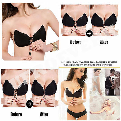 68ff93bc78 Backless Breast Lift Bra Perfect Sculpting Lace-Up Strapless Cleavage  Boosting
