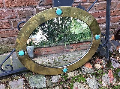 Liberty & Co Antique Mirror. Arts & Crafts With Ruskin Disks. 1900-1910
