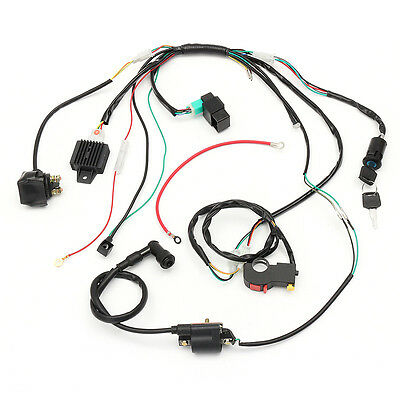 50-125cc Electric Engine Wiring Harness Loom For PIT Quad Bike ATV Buggy Black