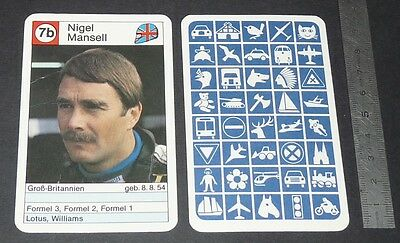Carte Coureur Automobile 1984 Formule 1 Grand Prix F1 Nigel Mansell Williams
