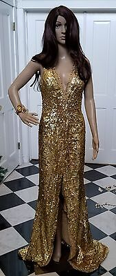 Gold sequin and beaded formal gown  size 4 -6