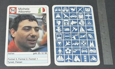 Carte Coureur Automobile 1984 Formule 1 Grand Prix F1 Michele Alboreto Ferrari
