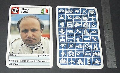 Carte Coureur Automobile 1984 Formule 1 Grand Prix F1 Theo Fabi Brabham