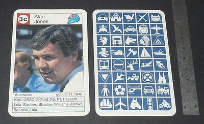 Carte Coureur Automobile 1984 Formule 1 Grand Prix F1 Alan Jones Beatrice-Lola