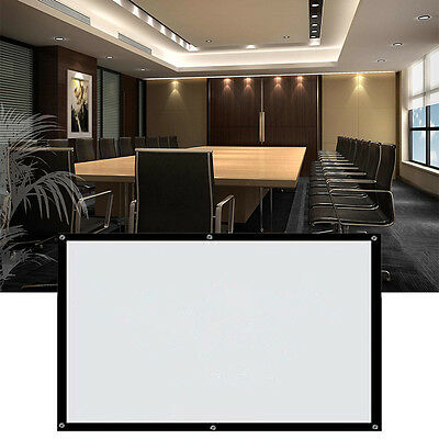Remote Projection Screen HD Movie Projector White Electric Motorized 16:9, 100""