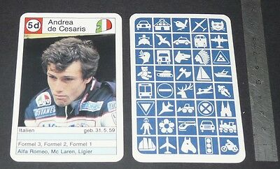 Carte Coureur Automobile 1984 Formule 1 Grand Prix F1 Andrea De Cesaris Ligier