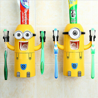 Minions Children Automatic Toothbrush Holder Toothpaste Dispense Suction Cup Set