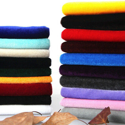 Velvet Upholstery Fabric Solid Soft Tablecloth Curtain Craft Material 160cm Wide