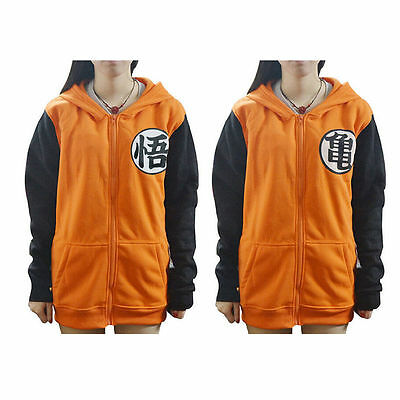 Dragonball Z Goku Hoodie Jumper Jacket Zip Up Sweatshirt Costume Anime Cosplay
