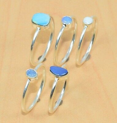 Wholesale 5Pc 925 Sterling Silver Natural Australian & Ethiopan Opal Ring Lot