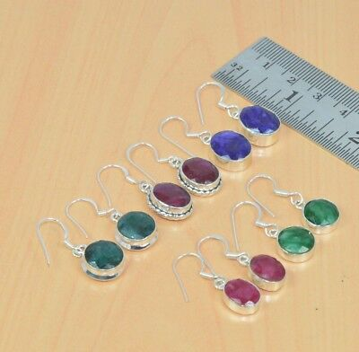 Wholesale 5Pair 925Solid Sterling Silver Red Ruby & Mix Stone Hook Earring Lot