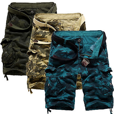 AU Mens Military Camouflage Cargo Shorts Pants Baggy Trousers Combat Casual Camo