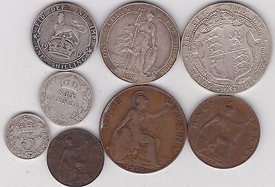 1910 Edward Vii Part Set Of 8 Coins In A Used Condition