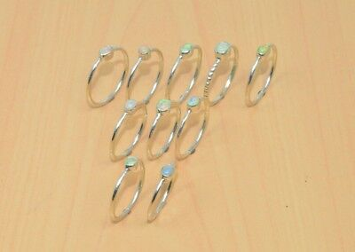 Wholesale 10Pc 925 Solid Sterling Silver Natural Ethiopian Opal Ring Lot