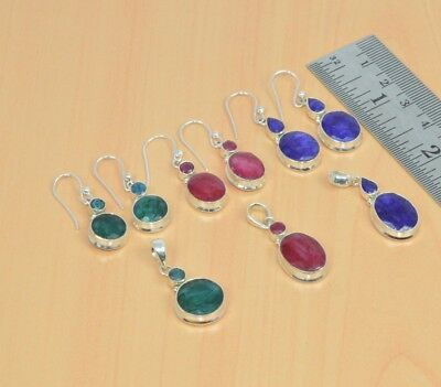 Wholesale 3Pc 925Solid Sterling Silver Emerald,ruby,sapphire Earring-Pendant Lot