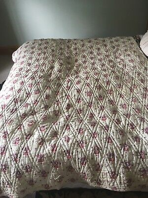 Vintage French Quilt Paisley Rose White Antique Durham Hand Sewn