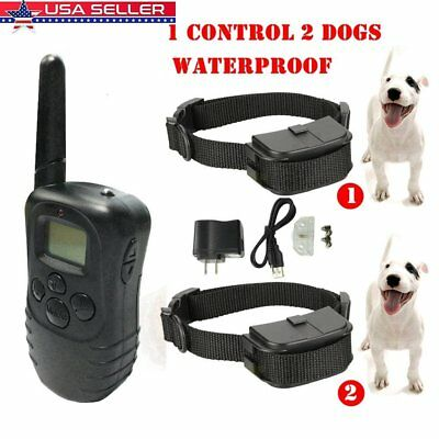 1x Waterproof Remote Control Electric Shock Device+2 Anti Bark Coller DogTrainer