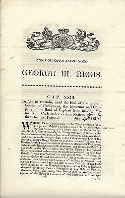 Act Parliament George III, 1819