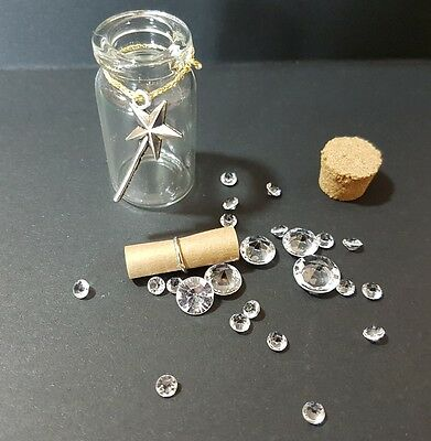 First Tooth Fairy Keepsake Bottle jar with wand scroll letter and gem stones