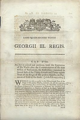 Act of Parliament, George III 1803