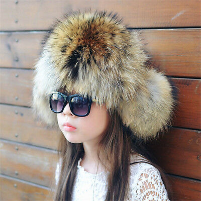 New Winter Children's Boy/girlReal Raccoon Fur Hats Ear Cap Warmer