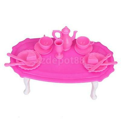 Pink Plastic Coffee Table Furniture Dishes & Tableware Set For Barbie Doll