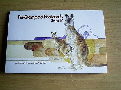 AUSTRALIA POST ANIMAL POSTCARDS SERIES 4 - 6 PRE-STAMPED POSTCARDS - in a wallet