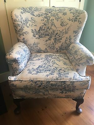 Pleasing Upholstered Armchair Toile Blue Pastoral Pattern On White Machost Co Dining Chair Design Ideas Machostcouk