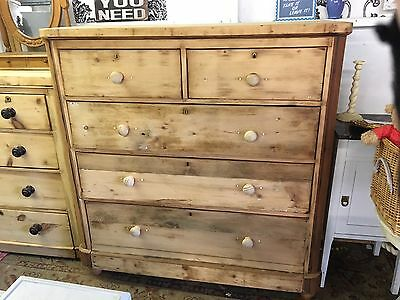 Victorian Pine Chest Of Drawers Unwaxed