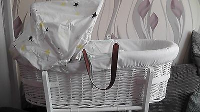 Mamas&Papas Unisex Star Print Moses Basket/Stand & Mattress **Great condition**