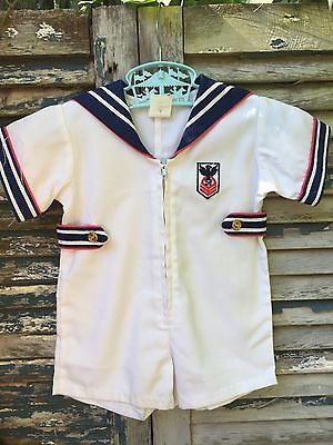 Vintage 1960's 1970's Red White and Blue Navy Sailor Suit Shortall Romper 12 mos