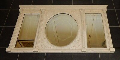 Victorian White Painted 3 Section Over Mantle Mirror with Corinthian Columns