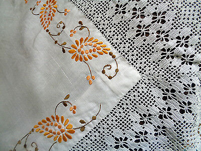Vintage Tablecloth with Hand Embroidery and Deep Crochet  Border