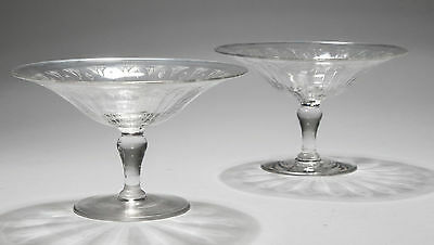 A Pair of Antique Edwardian Finely Blown Etched Glass Tazza or Bonbon Dishes