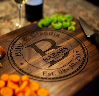 Personalized Wood Cutting Board - Laser Engraved HIGH-QUALITY Maple or Walnut