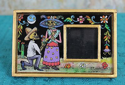 Small Day of the Dead Picture Frame églomisé Hand Painted on Glass Peru Folk Art