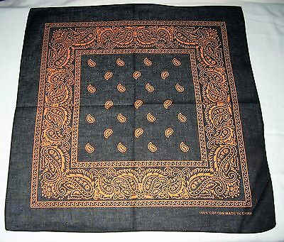 New Unisex 100% Cotton Bandana/Head Wrap/Scarf, Black/Orange Paisley