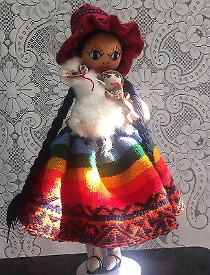 Handmade Vintage Peruvian Rag Doll in Traditional Dress with Llama and Babies